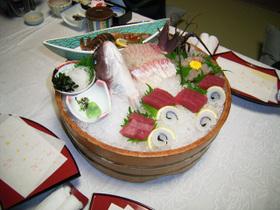 福寿荘の夕食(刺身)