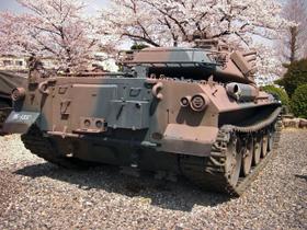 74式戦車と桜