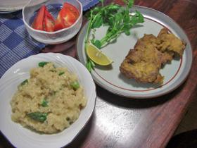 ミラノ風カツレツ&チーズとアスパラのリゾット
