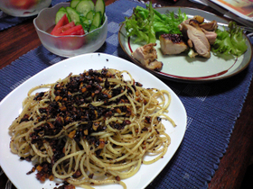 くるみのガーリックスパゲティ&鶏肉のさっぱり網焼き