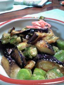 茄子、オクラ、ミョウガのさっぱり炒め